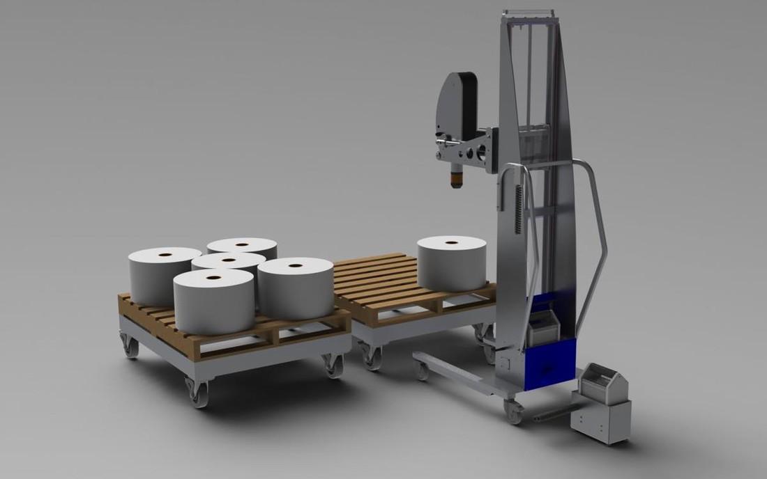 #22664 Alum-a-Dollysとロールを処理するためのクイック交換バッテリーシステムで示された拡張マンドレルリフト