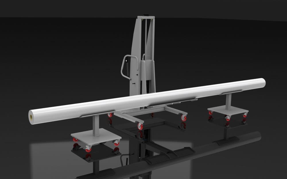 #21569 ロングシリンダー用の2つのVトラフカートを備えたVトラフリフト