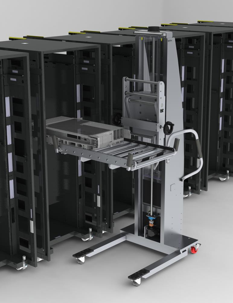 #21742 Ergonomic lift featuring a roller deck for easy placement and removal of servers.