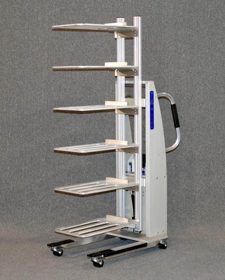 #24063 Ergonomic multiple platform lift for handling laptops on trays
